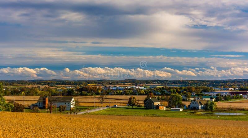 Vista di Hannover, Pensilvania dalle altezze di Hershey fotografie stock libere da diritti