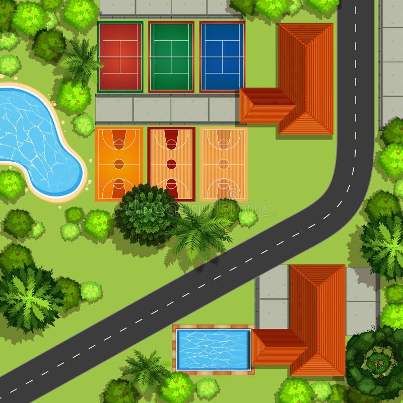 Vista di Hawkeye della zona di sport illustrazione vettoriale