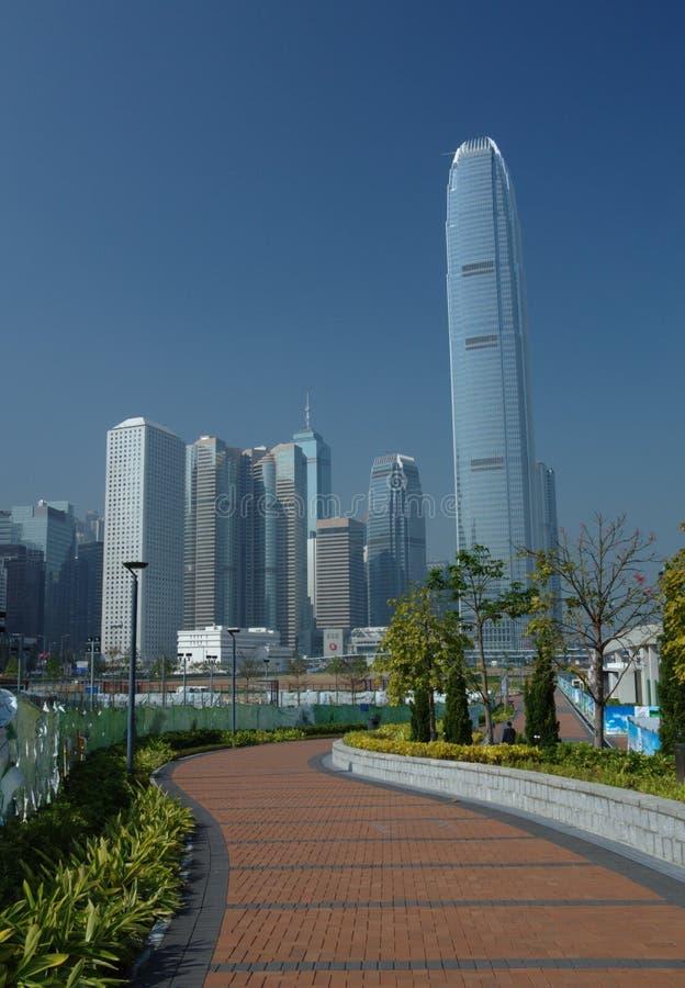 Vista di Hong Kong del centro nella luce del giorno fotografia stock