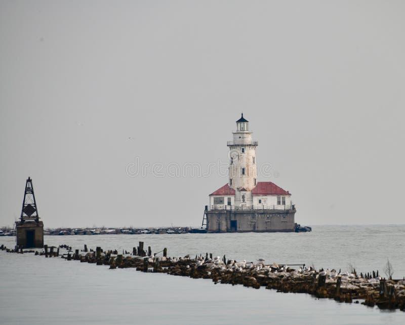 Vista di inverno del faro del porto di Chicago fotografia stock libera da diritti