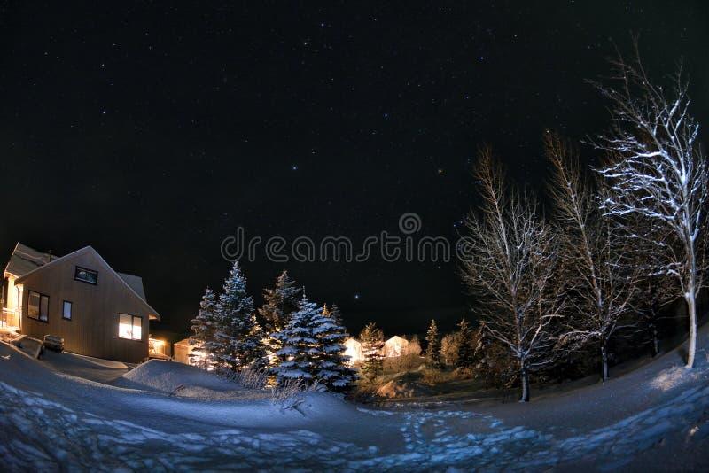 Vista di inverno del vik dell'Islanda di Natale immagine stock libera da diritti