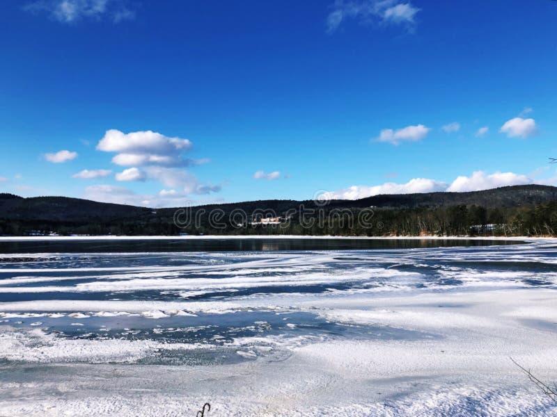 Vista di inverno di Stockbridge fotografia stock libera da diritti