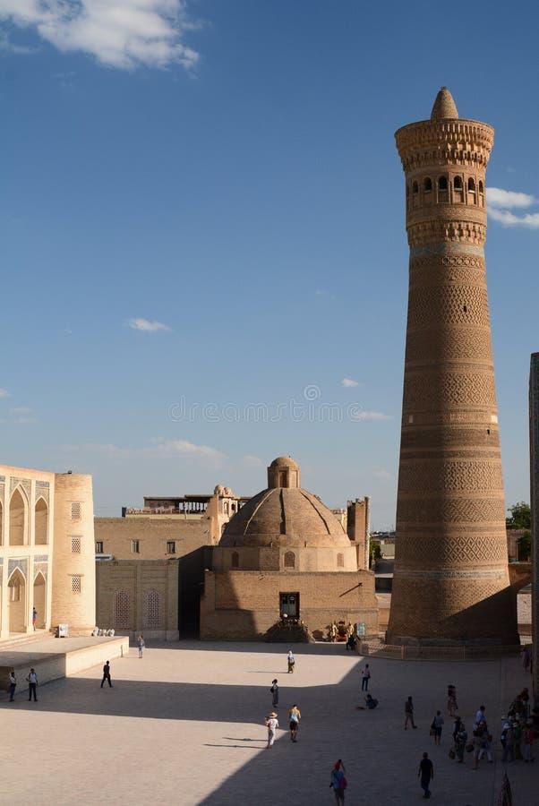 Vista di Kalyan, o Kalon, minareto buchara uzbekistan fotografie stock libere da diritti