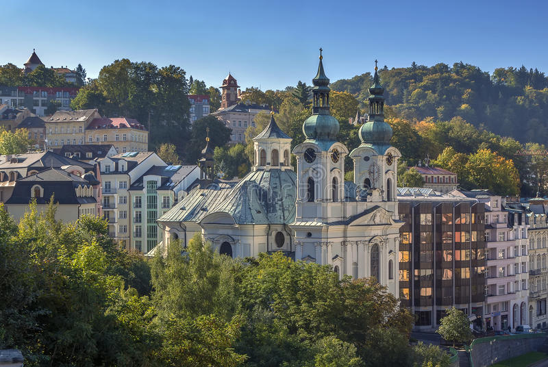 Vista di Karlovy Vary, repubblica Ceca fotografia stock