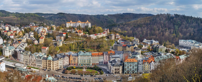 Vista di Karlovy Vary, repubblica Ceca fotografia stock libera da diritti