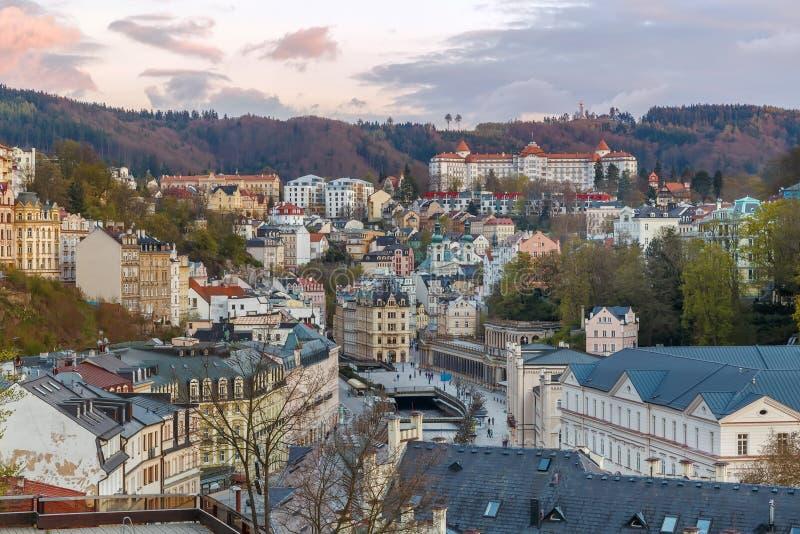 Vista di Karlovy Vary, repubblica Ceca fotografie stock