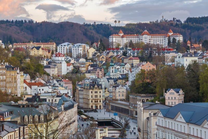 Vista di Karlovy Vary, repubblica Ceca fotografie stock libere da diritti