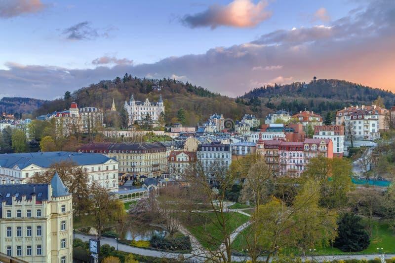 Vista di Karlovy Vary, repubblica Ceca immagine stock