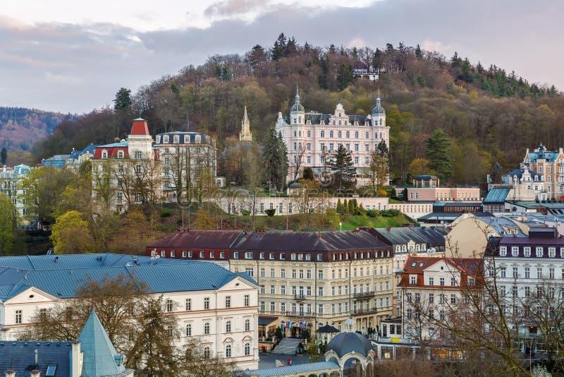 Vista di Karlovy Vary, repubblica Ceca immagini stock
