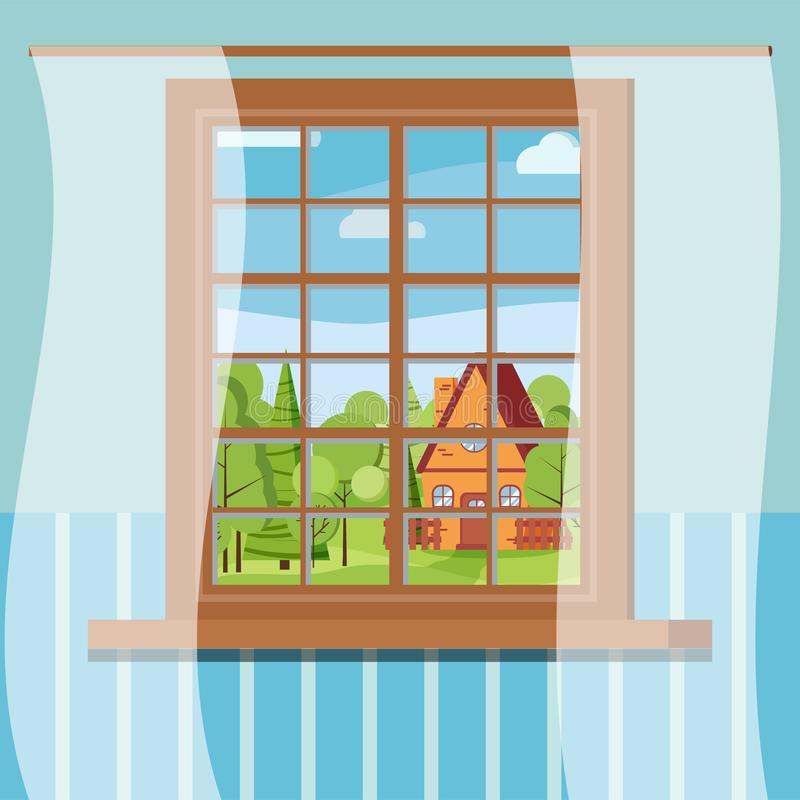 Vista di legno della finestra del fumetto nella scena piana di giorno soleggiato di stile illustrazione di stock