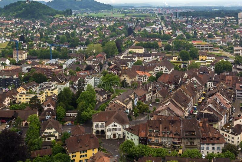 Vista di Lenzburg, Svizzera fotografie stock libere da diritti