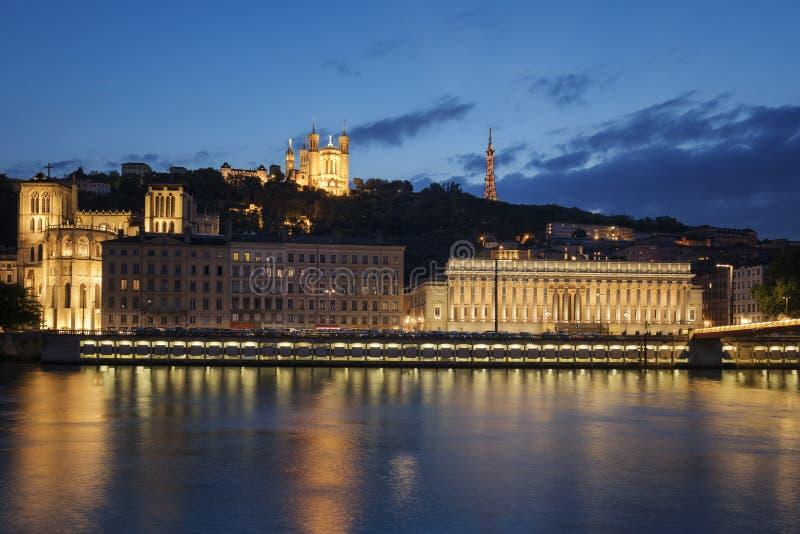 Vista di Lione di notte france immagine stock libera da diritti