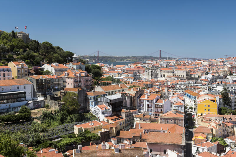 Vista di Lisbona della città immagini stock libere da diritti