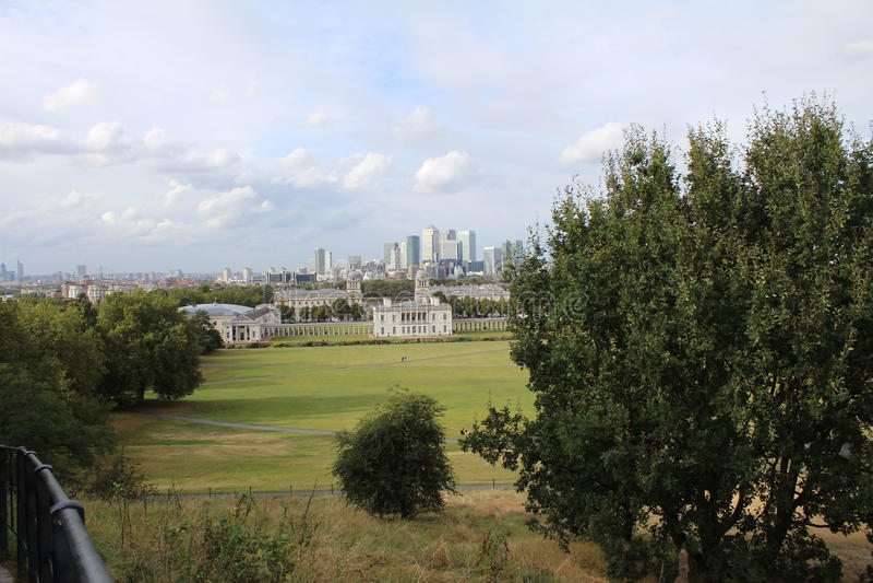 Vista di Londra dal parco di Greenwich fotografia stock