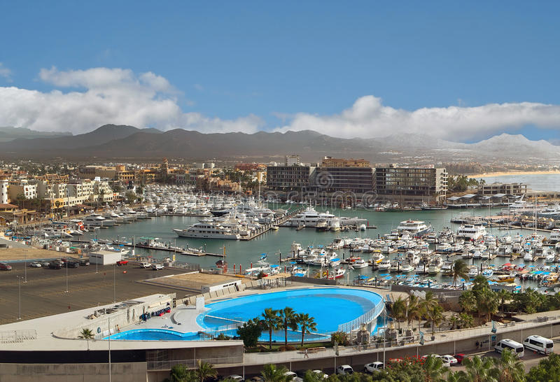 Vista di Los Cabos (Cabo San Lucas), Messico da sopra fotografie stock libere da diritti