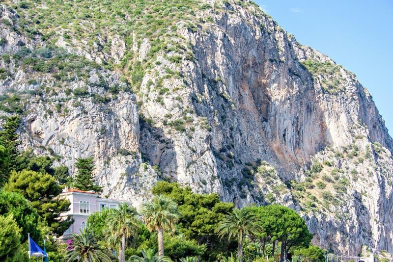 Vista di luce del giorno dal fondo alle montagne verdi in pieno dei cespugli fotografia stock libera da diritti