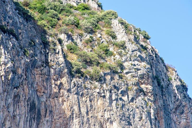 Vista di luce del giorno dal fondo alle montagne verdi in pieno dei cespugli fotografia stock