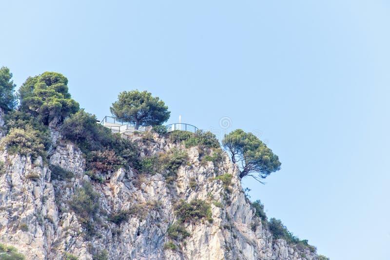 Vista di luce del giorno dal fondo per oscillare le montagne con gli alberi verdi fotografie stock libere da diritti