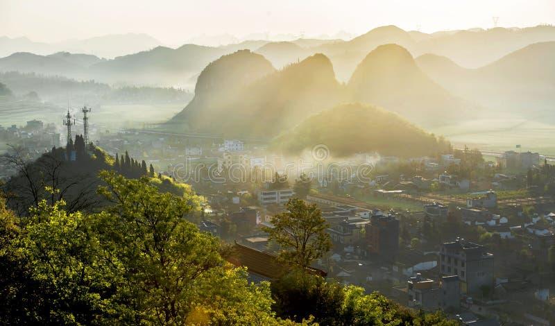 Vista di luoping, il Yunnan immagine stock libera da diritti