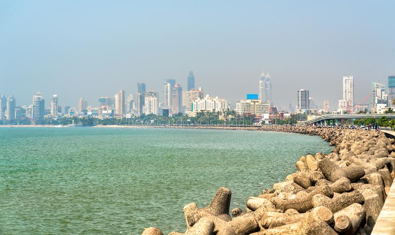 Vista di Mumbai da Marine Drive L'India fotografia stock