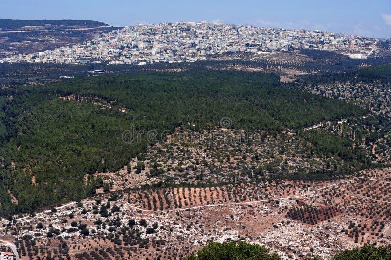 Vista di Nazareth dal supporto Tabor fotografia stock libera da diritti