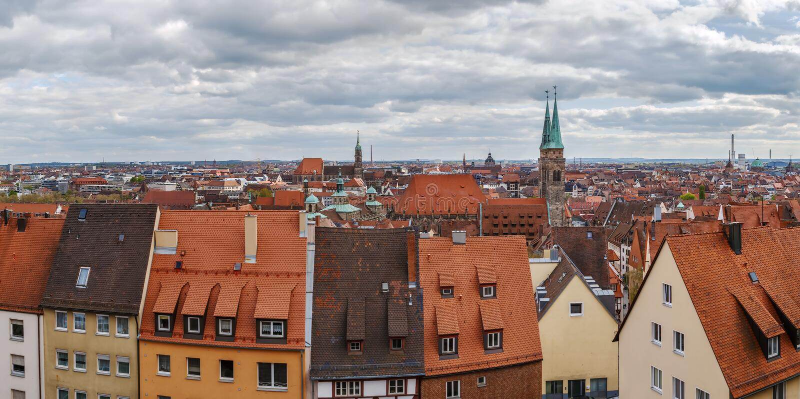 Vista di Norimberga, Germania fotografie stock libere da diritti