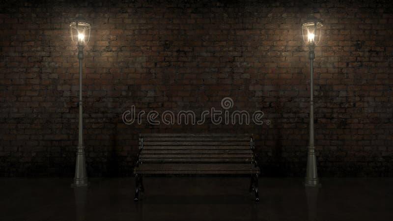 Vista di notte del muro di mattoni illuminato con la vecchia via illustrazione di stock
