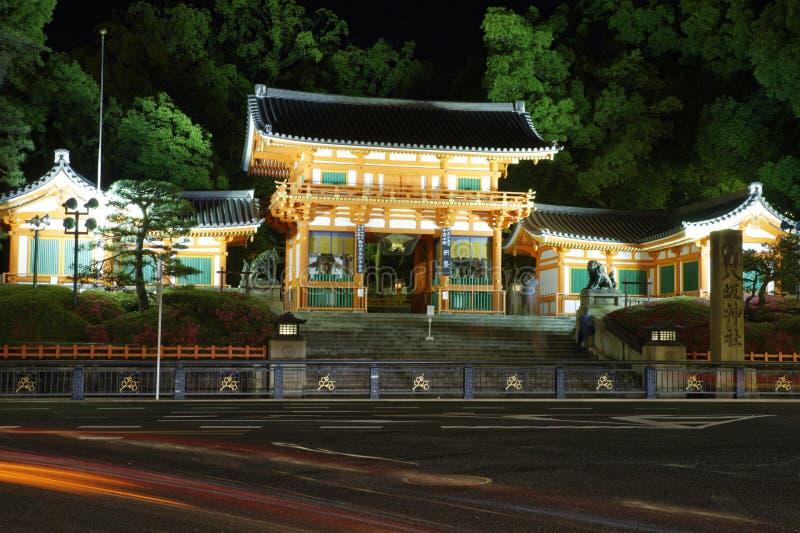 Vista di notte del santuario di Yasaka fotografia stock libera da diritti