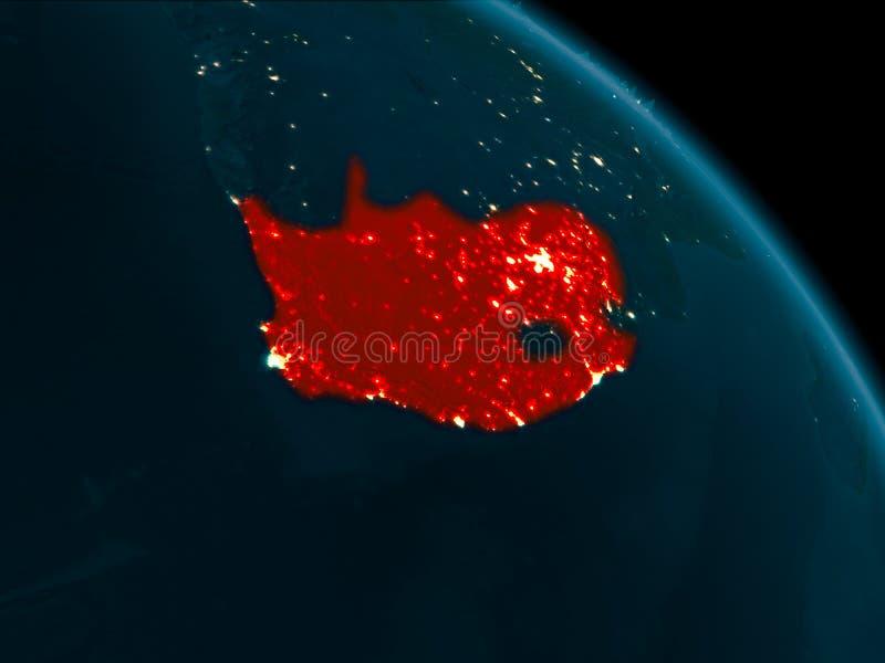 Vista di notte del Sudafrica su terra illustrazione vettoriale