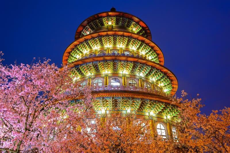 Vista di notte del tempio di Tien-yuan immagine stock