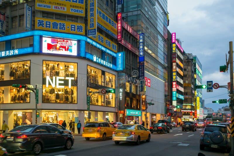 Vista di notte della città di Taipeh, Taiwan immagini stock