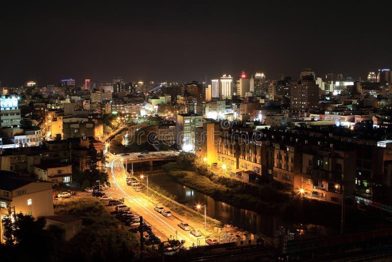 Vista di notte della città di Taiwan Hsinchu fotografia stock