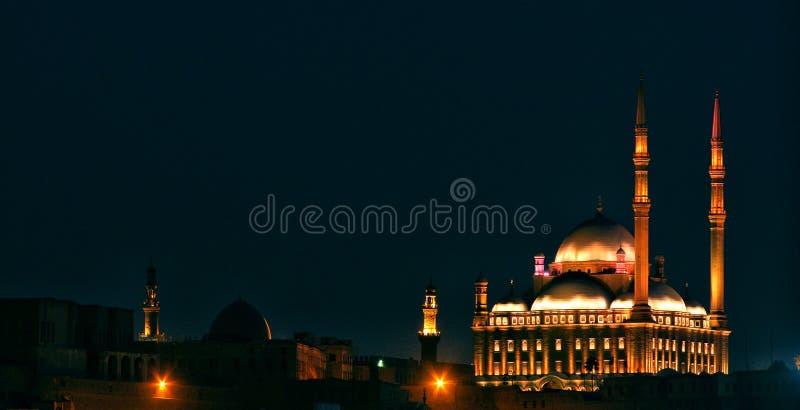 Vista di notte della cittadella dell'Egitto Cairo