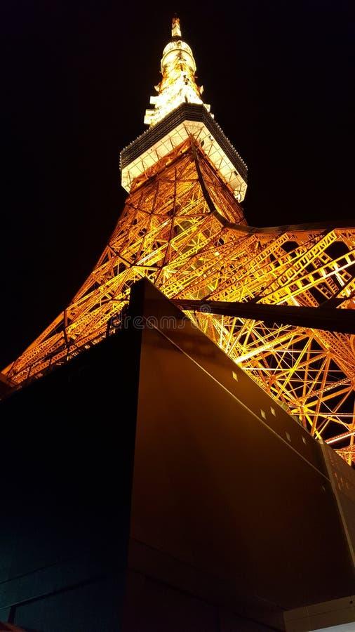 Vista di notte della torre di Tokyo fotografie stock libere da diritti