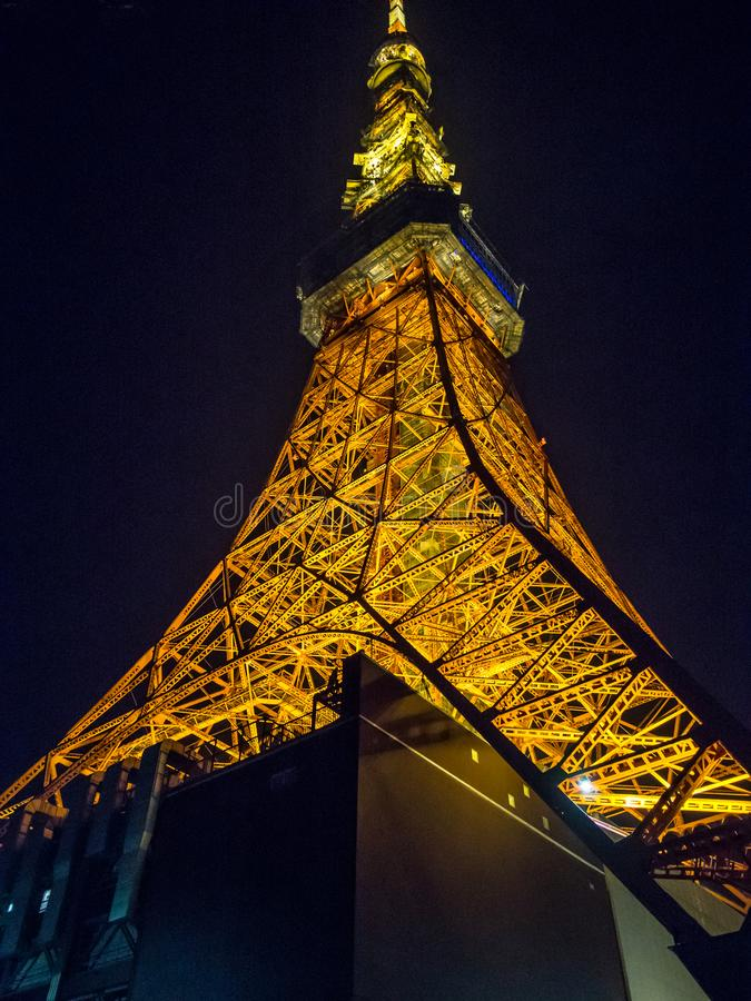 Vista di notte della torre di Tokyo, Tokyo, Giappone immagine stock