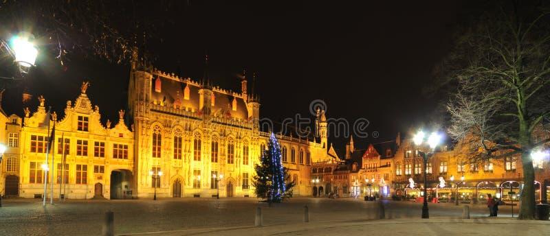 Vista di notte di Bruges, Belgio immagine stock libera da diritti