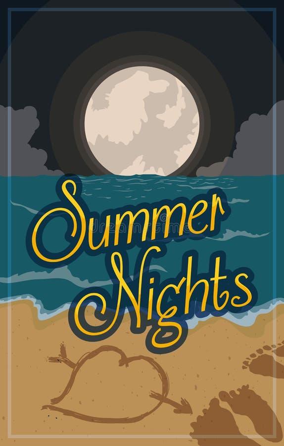 Vista di notte di estate della spiaggia con la luna piena, illustrazione di vettore illustrazione di stock