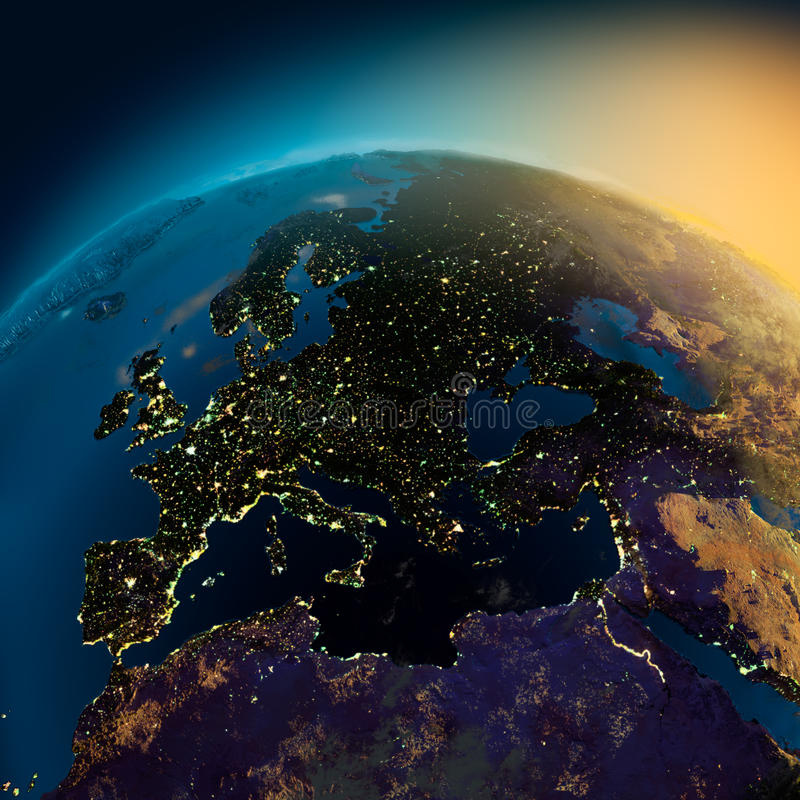 Vista di notte di Europa da royalty illustrazione gratis