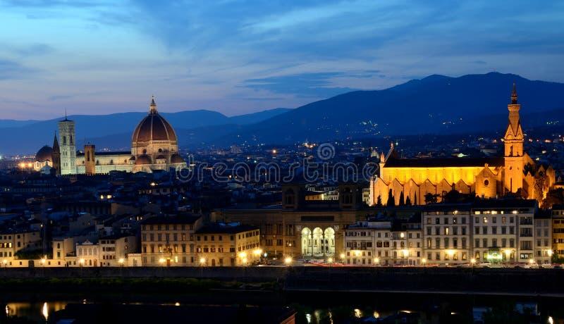 Vista di notte di Firenze, Toscana fotografia stock