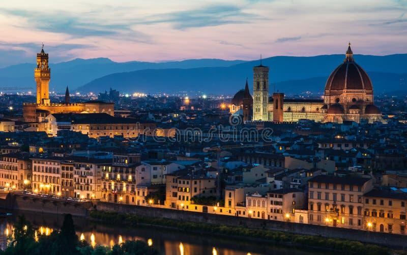 Vista di notte di Firenze, Toscana, Italia fotografia stock