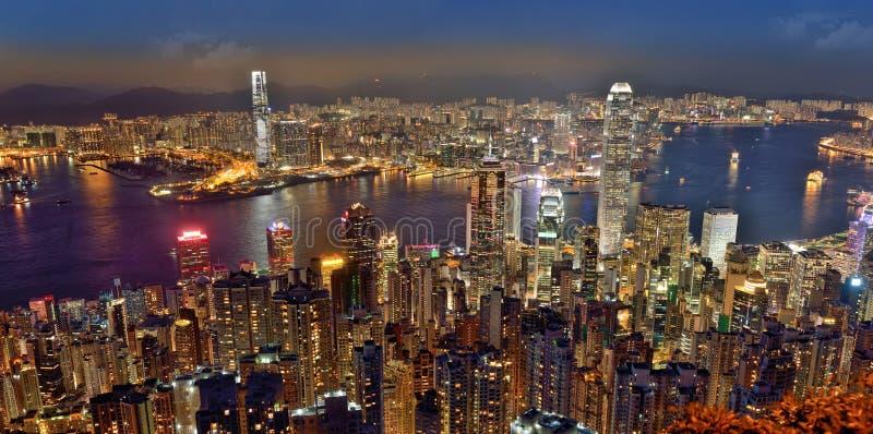 Vista di notte di Hong Kong fotografia stock libera da diritti