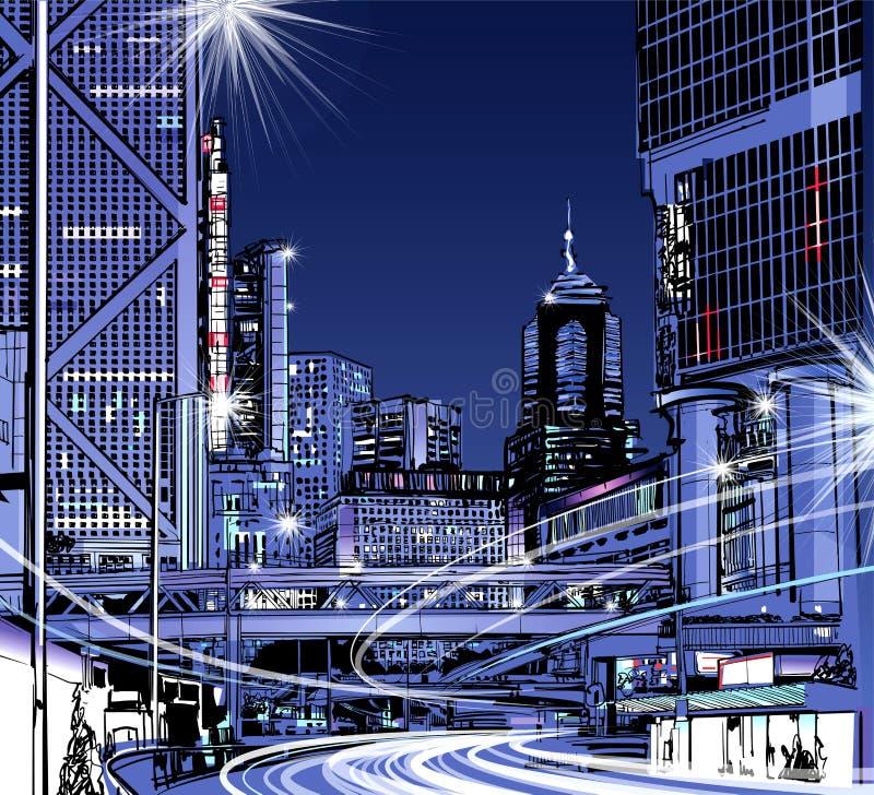 Vista di notte di Hong Kong illustrazione vettoriale