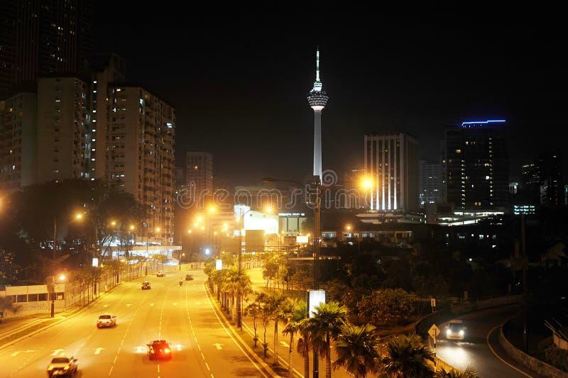 Vista di notte di Kuala Lumpur del centro fotografia stock libera da diritti