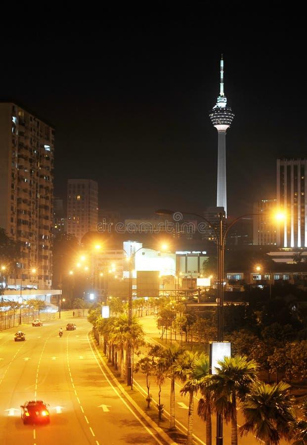 Vista di notte di Kuala Lumpur del centro fotografie stock libere da diritti