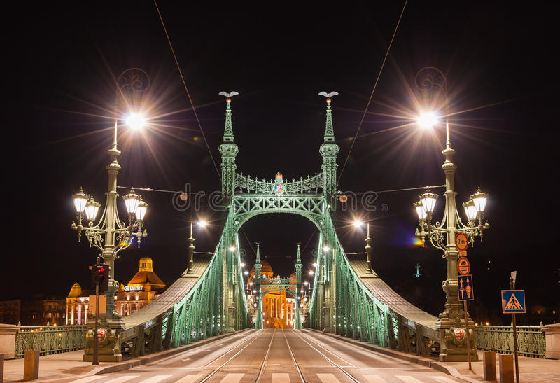 Vista di notte di Liberty Bridge o del ponte di libertà a Budapest, Ungheria immagini stock