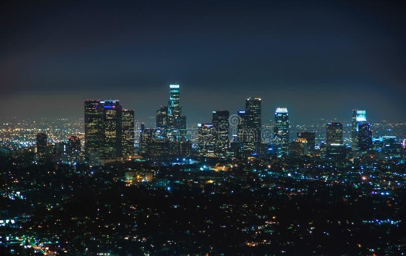 Vista di notte di Los Angeles del centro, California Stati Uniti fotografie stock libere da diritti