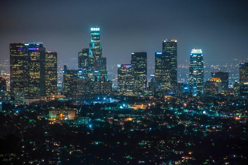 Vista di notte di Los Angeles del centro, California Stati Uniti fotografia stock libera da diritti