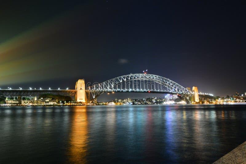 Vista di notte HARBOUR IL PONTE sydney Il Nuovo Galles del Sud l'australia immagine stock libera da diritti