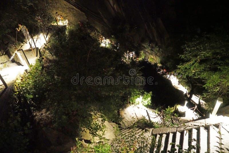 Vista di notte di Huashan della montagna immagine stock libera da diritti