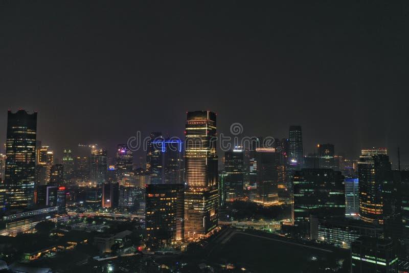 Vista di notte a Jakarta Indonesia fotografia stock